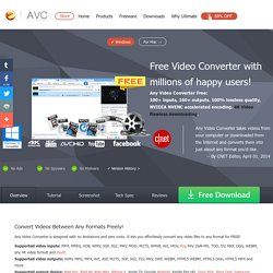 Free Video Converter, Any Video Converter Freeware: Convert any video to MP4/WMV/MP3 for mobile devices