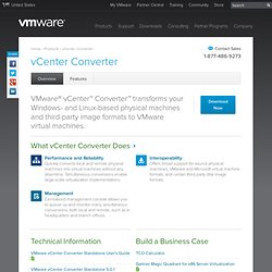 vCenter Converter, Convert to Virtual Machines - VMware