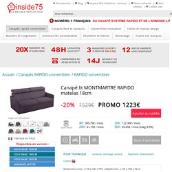 RAPIDO convertibles, canapés rapido convertibles, Canapé lit MONTMARTRE RAPIDO matelas 18cm