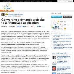 Converting a dynamic web site to a PhoneGap application