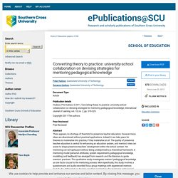 """""""Converting theory to practice: university-school collaboration on devi"""" by Peter Hudson and Suzanne Hudson"""