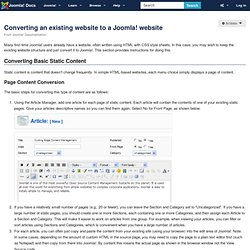 Converting an existing website to a Joomla! website