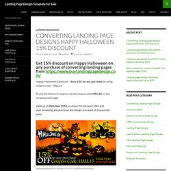 Converting landing page designs happy halloween 15% discount