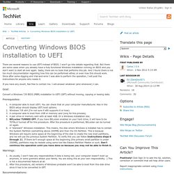 Converting Windows BIOS installation to UEFI