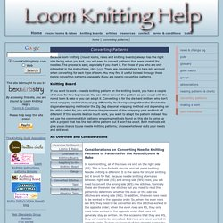 converting needle knitting patterns to the looms