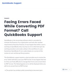 Facing Errors Faced While Converting PDF Format? Call QuickBooks Support – QuickBooks Support