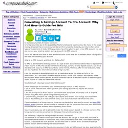 Converting A Savings Account To Nro Account: Why And How-to Guide For Nris