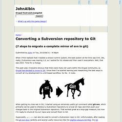 Converting a Subversion repository to Git, (7 steps to migrate a complete mirror of svn in git) | JohnAlbin