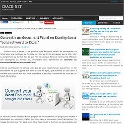 "Convertir un document Word en Excel grâce à ""convert word to Excel"""
