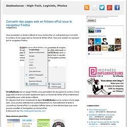 Convertir des pages web en fichiers ePub sous le navigateur Firefox