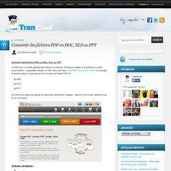 Convertir des fichiers PDF en DOC, XLS ou PPT