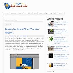 Convertir les fichiers Pdf en Word pour Windows