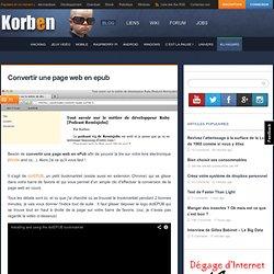 Convertir une page web en epub