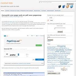 Convertir une page web en pdf avec pagesnap