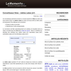 Convertisseur de valeurs en litres, décilitres, centilitres, cm3, m3