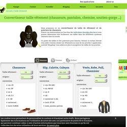 Convertisseur taille vêtement (chaussure, pantalon, chemise, soutien-gorge …)