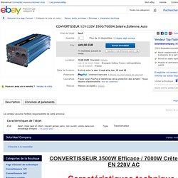 Convertisseur 12V 220V 3500 7000W Solaire Eolienne Auto