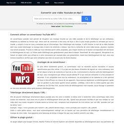 ⓵ Convertisseur Youtube MP3 gratuit