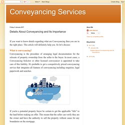 Conveyancing Services: Details About Conveyancing and Its Importance
