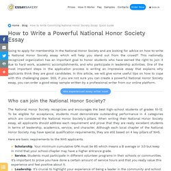 How to Write Convincing National Honor Society Essay: Quick Guide