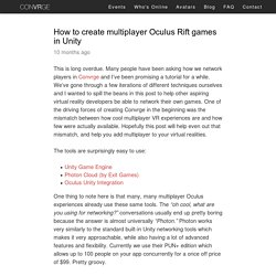 How to create multiplayer Oculus Rift games in Unity