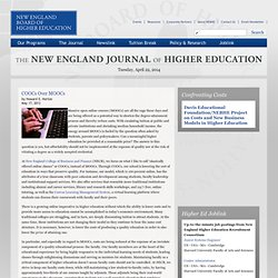 COOCs Over MOOCs : New England Board of Higher Education