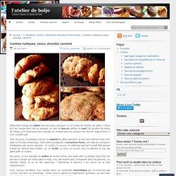 Cookies rustiques, cacao, chocolat, caramel