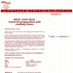 oking beef - general preparation and cooking times for Beef and Veal