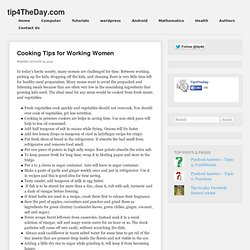 Cooking Tips for Working Women
