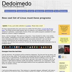 New cool list of Linux must-have programs