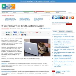 11 Cool Online Tools You Should Know About