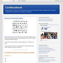 Facebook Symbols - Emoticons - ASCII art shapes