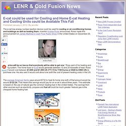 E-cat could be used for Cooling and Home E-cat Heating and Cooling Units could be Available This Fall « Cold Fusion News