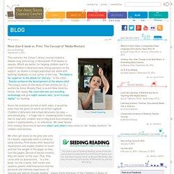 More than E-book vs. Print: The Concept of 'Media Mentors'