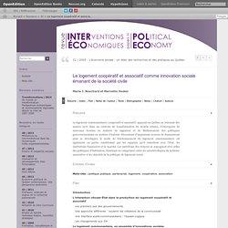 Le logement coopératif et associatif comme innovation sociale émanant de la société civile