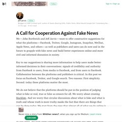 A Call for Cooperation Against Fake News – Whither news? – Medium