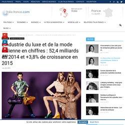 L'industrie du luxe et de la mode italienne en chiffres : 52,4 milliards en 2014 et +3,8% de croissance en 2015