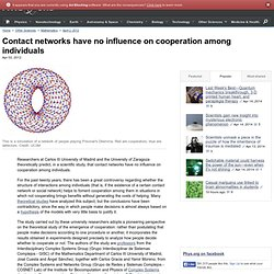 Contact networks have no influence on cooperation among individuals