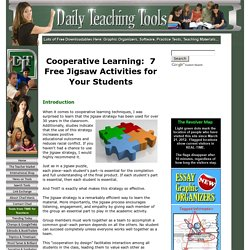Cooperative Learning: 7 Free Jigsaw Activities for Your Students