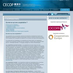Qu'est-ce qu'une coopérative ? - CECOP