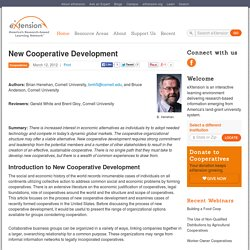 New Cooperative Development