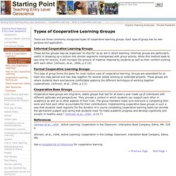Types of Cooperative Learning Groups