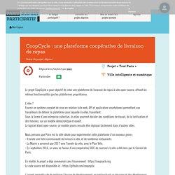 Coopcycle : Une Plateforme Coopérative De Livraison De Repas - Budget Participatif - Paris