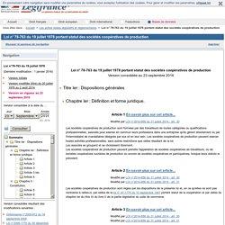 Loi n° 78-763 du 19 juillet 1978 portant statut des sociétés coopératives de production