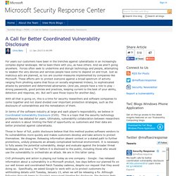 A Call for Better Coordinated Vulnerability Disclosure - MSRC