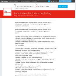 Coordinateur Print Marketing Fr/Ang Emploi