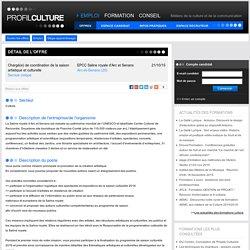 de coordination de la saison artistique et culturelle , EPCC Saline royale d'Arc et Senans, Arc-et-Senans (25)