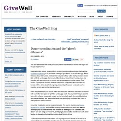 "Donor coordination and the ""giver's dilemma"""