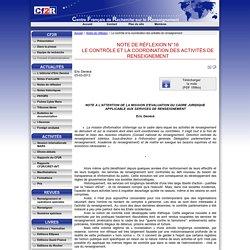 Le contrôle et la coordination des activités de renseignement