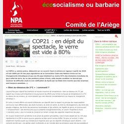 COP21 : en dépit du spectacle, le verre est vide à 80%